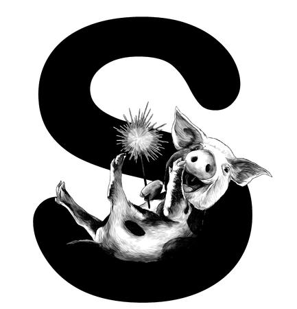 Fröhlich lächelndes Weihnachtsschwein mit bengalischem Feuer in den Pfoten liegt auf dem Buchstaben S, Teil des Wortes Weihnachten, Skizze Vektorgrafiken monochrome Darstellung auf weißem Hintergrund