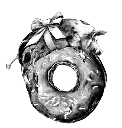 Christmas pig with a bow on the body lies on a large donut covered with chocolate and sprinkles, sketch vector graphics monochrome illustration on white background Ilustracja