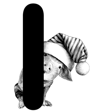 little Christmas pig in a big hat with a pompom Peeps out from behind the letter I part of the word Christmas, sketch vector graphics monochrome illustration on white background