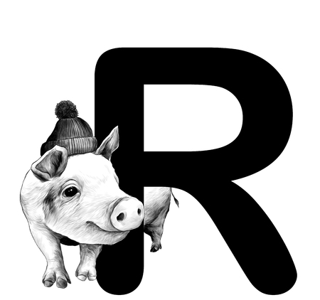Christmas pig in a warm hat with a pompom Peeps out from behind the letter R part of the word Christmas, sketch vector graphics monochrome illustration on white background