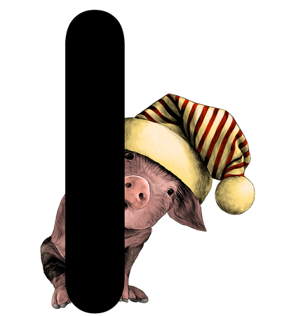 little Christmas pig in big hat with pompom Peeps out from behind the letter I part of the word Christmas, sketch vector graphic color illustration on white background Çizim