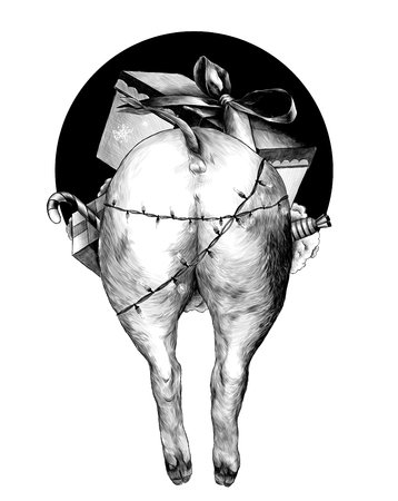 ass Christmas pig wrapped lighted garland sticking out of the hole the rear portion of the double drawing sketch vector graphics monochrome illustration on white background
