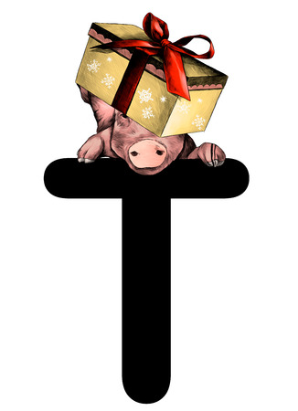 Christmas pig with festive box with bow on his head hanging on top of the letter T part of the word Christmas, sketch vector graphics color illustration on white background