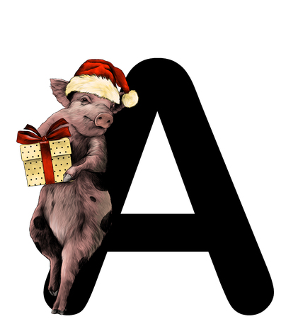 Christmas pig in a hat and with a gift box stands leaning on the letter A part of the word Christmas, sketch vector graphics color illustration on white background Ilustrace
