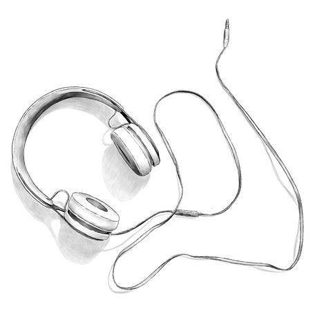 large headphones lie on the table top view, sketch vector graphics monochrome illustration on white background