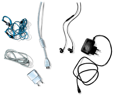 mobile and computer accessories, wires and chargers lie on the table top view, sketch vector graphics color illustration on white background Ilustrace