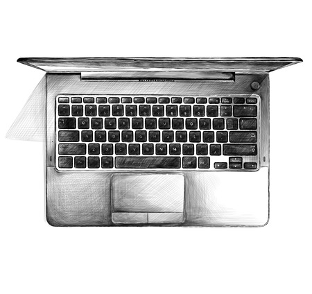 open laptop stands on table top view, sketch vector graphics monochrome illustration on white background