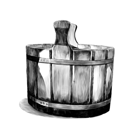 wooden basin for bath, sketch vector graphics monochrome illustration on white background Çizim