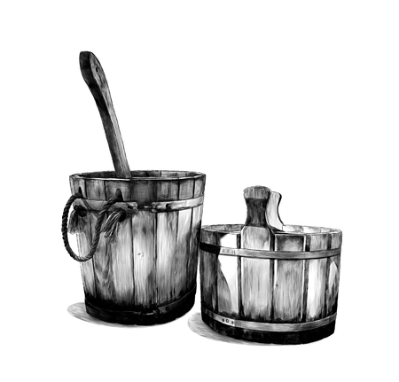 two wooden buckets for bath with ladle, sketch vector graphics monochrome illustration on white background Ilustracja