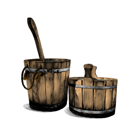 two wooden buckets for bath with ladle, sketch vector graphics color illustration on white background