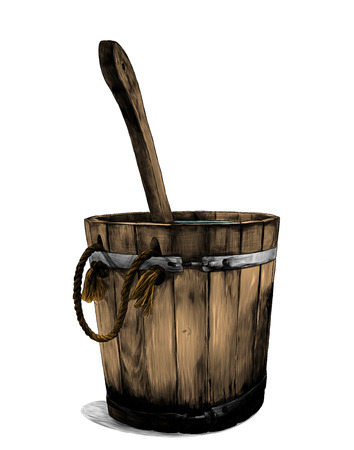 wooden bath bucket with bucket inside, sketch vector graphic color illustration on white background Иллюстрация