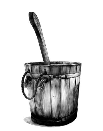 wooden bath bucket with bucket inside, sketch vector graphics monochrome illustration on white background