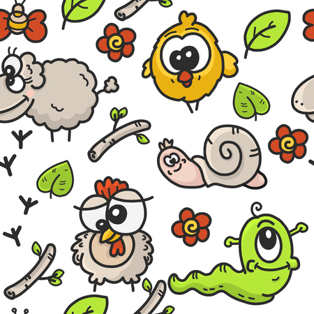 childrens seamless pattern with the image of cartoon drawings on the theme of the garden with the image of farm animals and plants, sketch vector graphics color illustration on a white background