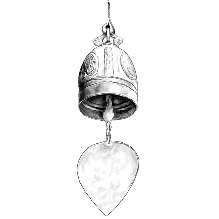 metal bell in Buddhist temple, sketch vector graphics monochrome illustration on white background Stok Fotoğraf - 123969663