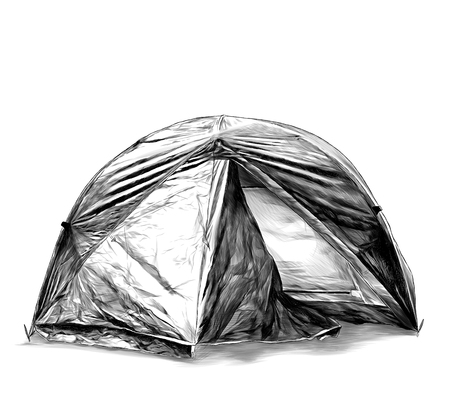 foldable travel tent round shape, sketch vector graphics monochrome illustration on white background
