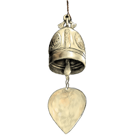 metal bell in Buddhist temple, sketch vector graphic color illustration on white background Illustration