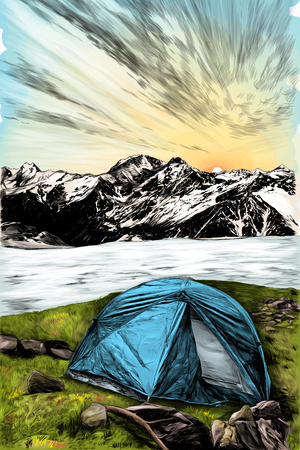 landscape with the image of a tourist tent in the foreground on the grass on the background of a frozen lake and mountains in the snow, sketch vector graphics color illustration on a white background