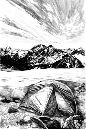 landscape with the image of a tourist tent in the foreground on the grass against a frozen lake and mountains in the snow, sketch vector graphics monochrome illustration on a white background