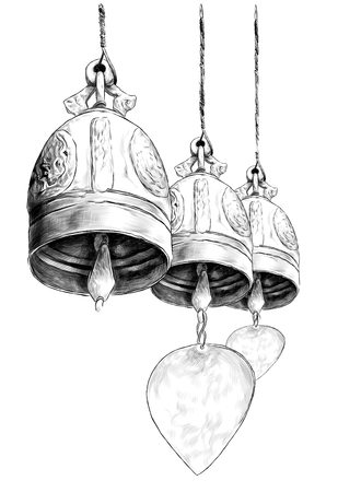 three hanging metal bells in Buddhist temple, sketch vector graphics monochrome illustration on white background