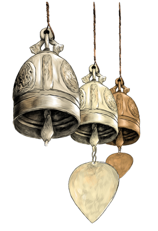 three hanging metal bells in Buddhist temple, sketch vector graphic color illustration on white background