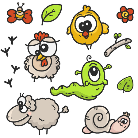childrens cartoon drawings set on the theme of the garden with the image of farm animals and plants, sketch vector graphics color illustration on a white background