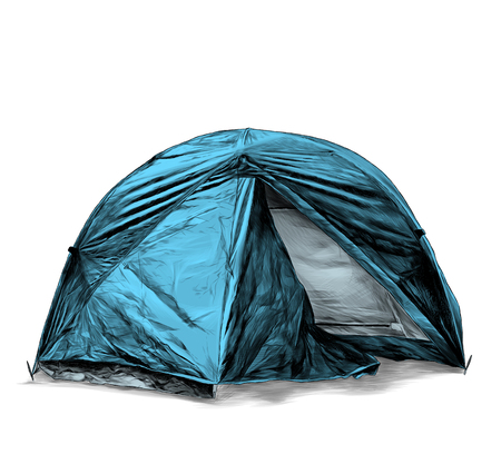 foldable travel tent round shape, sketch vector graphic color illustration on white background Foto de archivo - 123969671