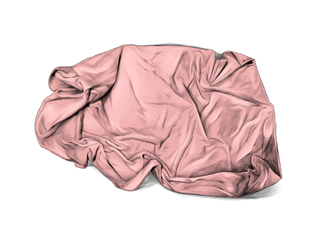 crumpled towel or blanket lies top view many folds, sketch vector graphic color illustration on white background