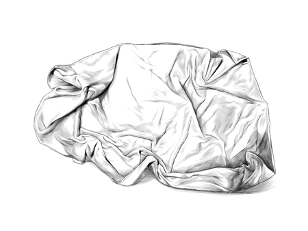crumpled towel or blanket lies top view many folds, sketch vector graphics monochrome illustration on white background