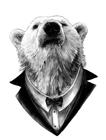 proud bear head looking confidently forward in jacket, shirt and bow tie, sketch vector graphics monochrome illustration on white background Ilustração