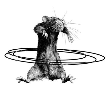 mouse stands tall and twists Hoop at waist