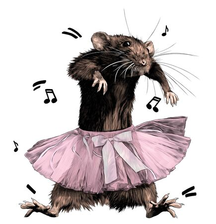 mouse dancing in puffy skirt with bow, sketch vector graphics color illustration on white background