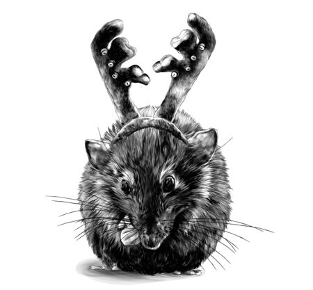 mouse sitting cross-legged with a decoration on his head in the form of a soft rim with deer antlers, sketch vector graphics monochrome illustration on a white background