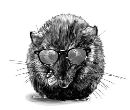 cute mouse sitting cross-legged in fashionable round youth glasses, sketch vector graphics monochrome illustration on white background