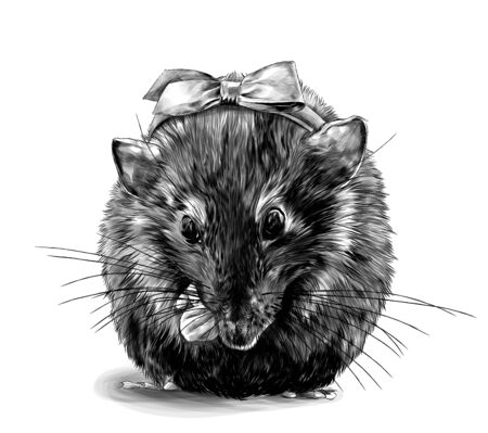 cute mouse girl sitting cross-legged with a bow on her head, sketch vector graphics monochrome illustration on white background Stock Illustratie