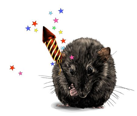cute mouse sitting with his front paws tucked up and holding a Christmas firecracker with flying stars, sketch vector graphics color illustration on a white background