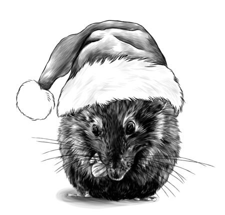 cute mouse sitting cross-legged in a big Christmas hat with fur on his head, sketch vector graphics monochrome illustration on a white background