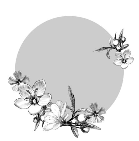 round frame with flower frame sketch vector graphics monochrome illustration on white background