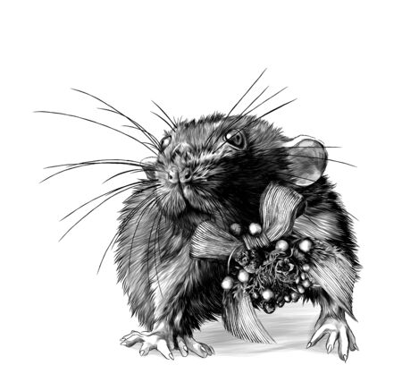 mouse with Christmas bow on neck stands tall and looks forward, sketch vector graphics monochrome illustration on white background