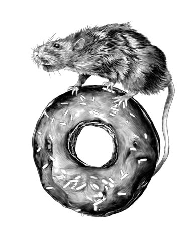 the mouse is standing and riding on a donut in the chocolate, confectionery topping, sketch vector graphics monochrome illustration on white background 向量圖像