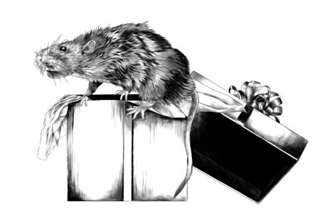 mouse sitting on Christmas gift box, sketch vector graphics monochrome illustration on white background Vectores