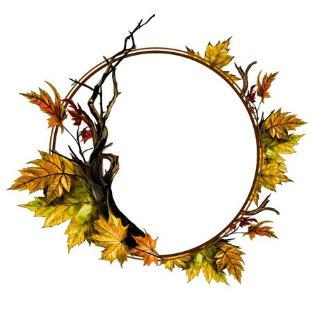 circle shaped frame surrounded by dry twigs and autumn dry maple leaves, sketch vector graphics color illustration on white background