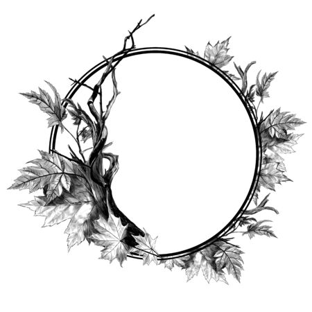 circle-shaped frame surrounded by dry twigs and autumn dry maple leaves, sketch vector graphics monochrome illustration on white background Stock Illustratie