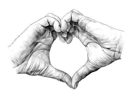 mens palms folded in heart shape, sketch vector graphic illustration on white background Stock Illustratie