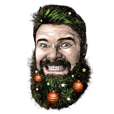 male face with long hair and beard with a tight smile with teeth on the beard hanging Christmas toys and Christmas decorations, sketch vector graphics illustration on a white background
