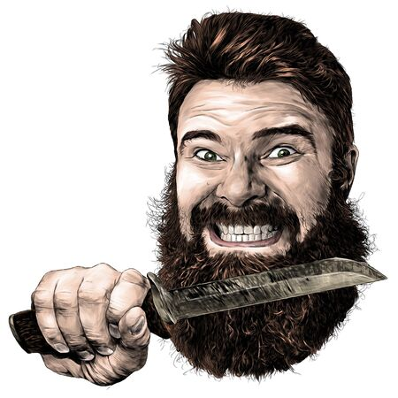 male face with a grin with a hand pressed to the beard with a hunting knife, sketch vector graphics illustration on a white background
