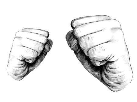 mens hands clenched into a fist for a blow, sketch vector graphics illustration on white background