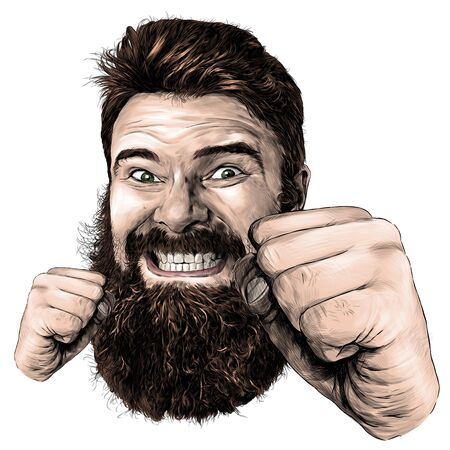 male face with long hair and beard with a tight smile with teeth and fists clenched for a punch in front of the face sketch vector graphic illustration on white background Stock Illustratie