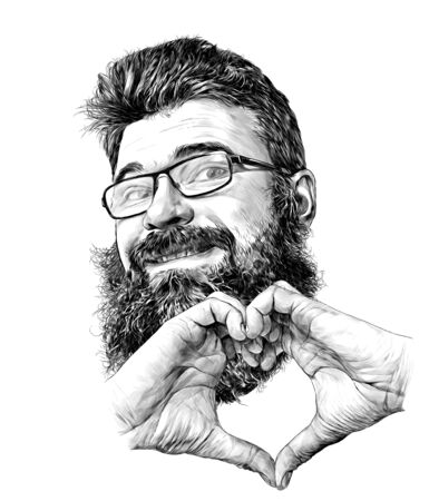 mans face in glasses with beard and luxuriant hair smiling sweetly with hands folded in the shape of a heart, sketch vector graphics monochrome illustration on a white background
