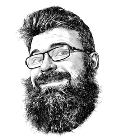 mans face in glasses with beard and luxuriant hair cute smiling, sketch vector graphics monochrome illustration on white background