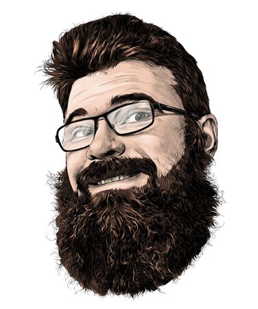mans face in glasses with beard and luxuriant hair cute smiling, sketch vector graphics color illustration on white background Illustration